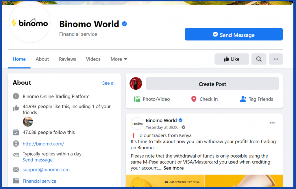 Binomo contact by Facebook