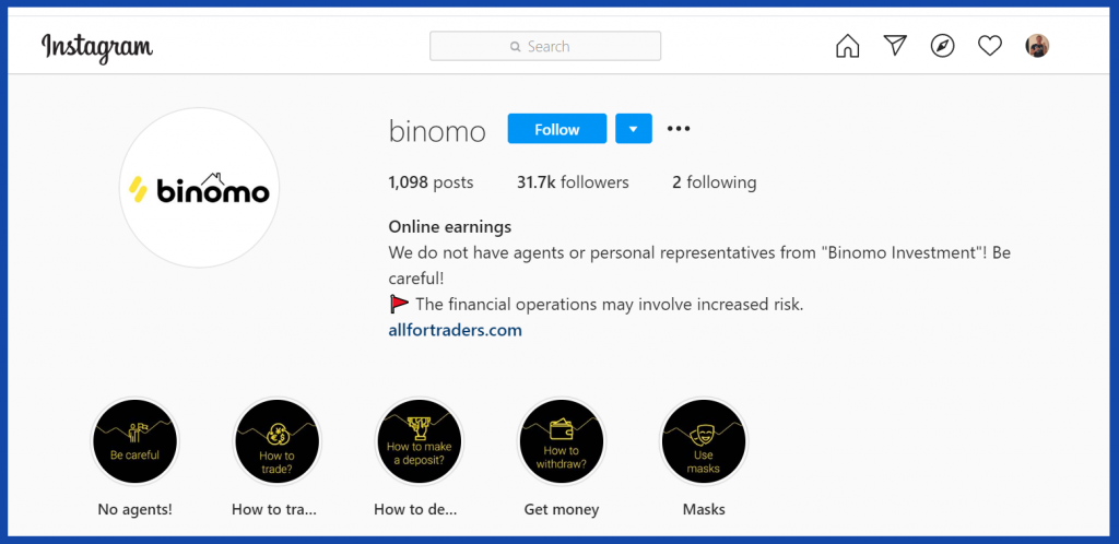 Binomo contact by instagram