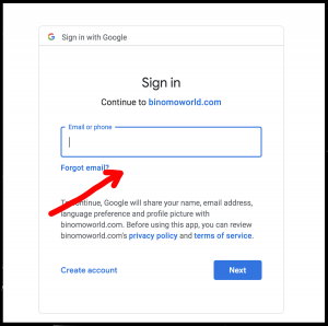 Binomo gmail account authorization with email