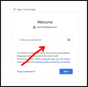 Binomo gmail account authorization with password