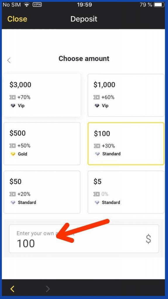 Binomo iOS mobile app select deposit amount