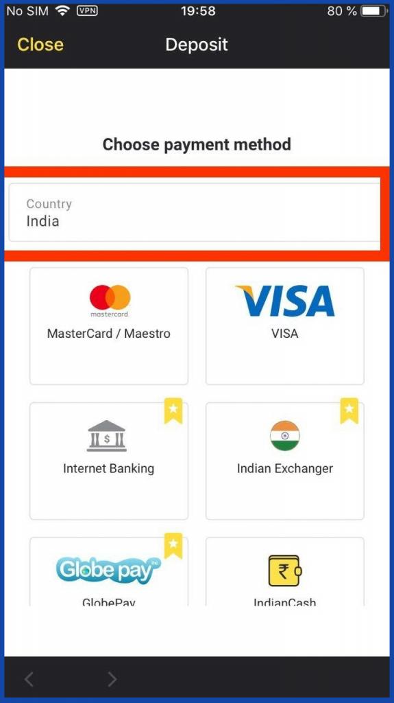 Binomo iOS mobile app deposit methods
