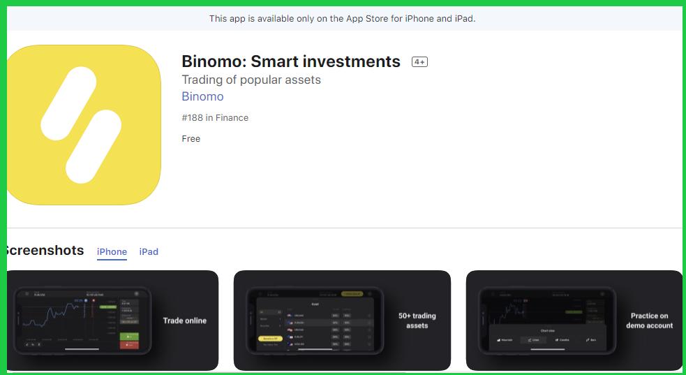 Binomo ios app in the itunes store